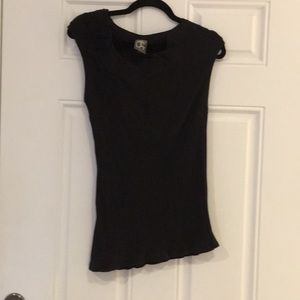 Black shirt with ruffle neck